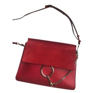 Chloe Bags - Chloe Medium Faye in Red Leather/Suede